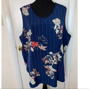 Maggie Sweet Sleeveless Blue Floral Blouse Plus